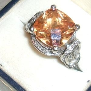 Jewelry - Gorgeous Fantasy Cut Citrine, CZ And Silver Ring 7